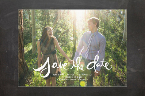 Hand-Lettered Save the Date Cards by Linda and Har...