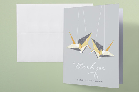 Paper Cranes Thank You Cards by Wondercloud Design