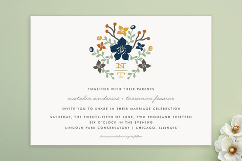 Floral Initials Wedding Invitations by lehan paper...