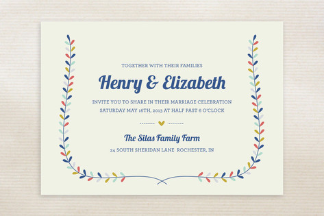 Charming Laurel Wedding Invitations by Laura Hanki...