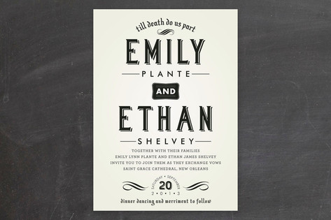 Delightfully Dark Wedding Invitations by Moe and M...