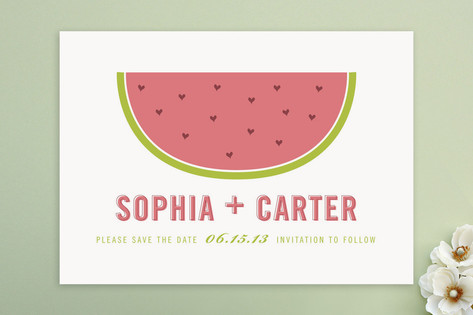 Watermelon Hearts Save the Date Cards by Sarah Cur...