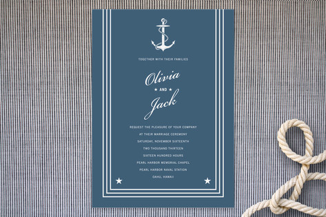Navy Stars and Stripes Wedding Invitations by Sara...
