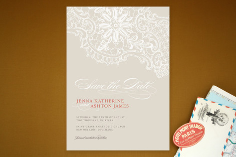 White Lace Save the Date Cards by Palm Papers