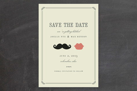 Stache & Kiss Save the Date Cards by Penelope Popp...