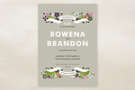 Banner and Branches Save the Date Cards by Alethea...