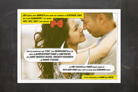 A Comic Book Love Story Wedding Invitations by 2bi...
