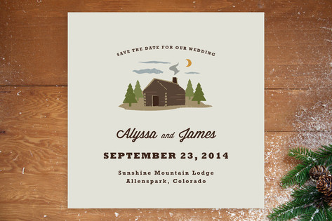 Log Cabin Save the Date Cards by Katie Wahn