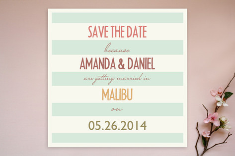 Malibu Stripes Save the Date Cards by Designkandy