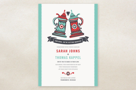 German Stein Toast Wedding Invitations by Casey Fr...