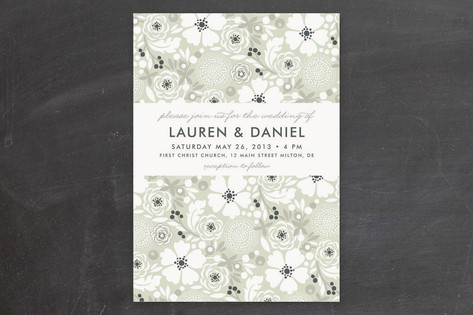 Simple Floral Wedding Invitations by Alethea and R...