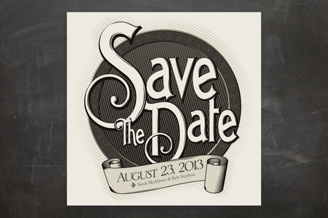Antiquely Save the Date Cards by GeekInk Design