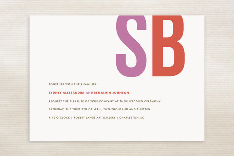 Brilliant and Bold Initials Wedding Invitations...