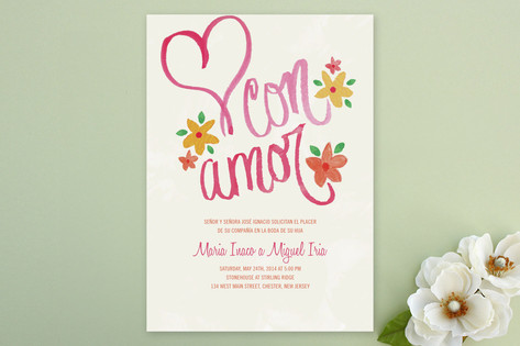 Con Amor Hand Painted Wedding Invitations by Jenni...