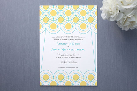 Deco Lights Wedding Invitations by Coco Paperie