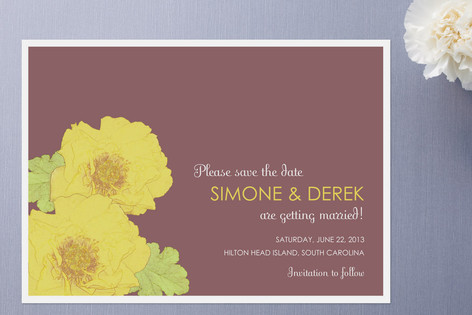 Yellow Peonies Save the Date Cards by Gakemi ArtD...