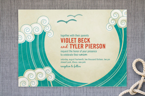 BLOCK PRINT WAVES Wedding Invitations by bumble in...