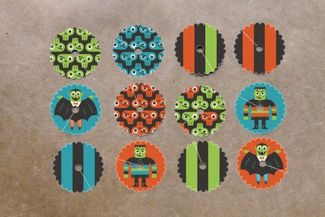 Monster Halloween Wine Glass Tags by Bob Daly