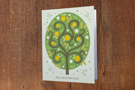 Orange Tree Folded Personal Stationery
