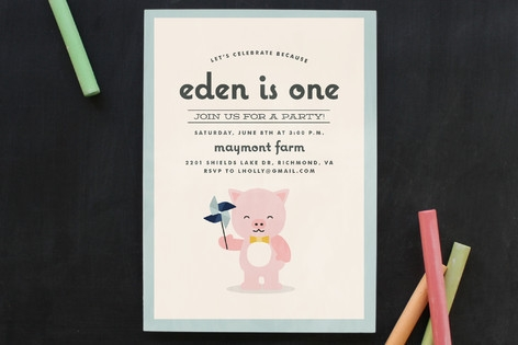 Piglet Party Children's Birthday Party Invitations