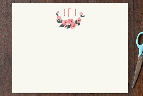 Pink Blossoms Personalized Stationery by Four Wet ...