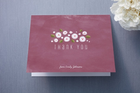 Plum Flowers Thank You Cards by Four Wet Feet Desi...