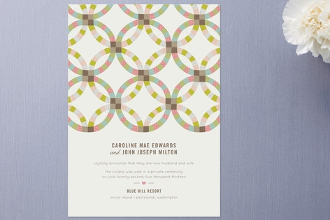 Quilted Wedding Announcements by Laura Hankins