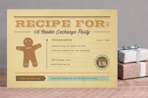 Retro Recipe Holiday Party Invitations
