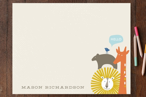 Stacked Animals Children's Personalized Stationery