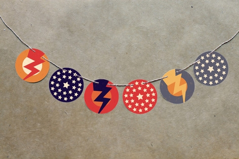 Super Heroes Banner Circle Garlands by Lori Wemple