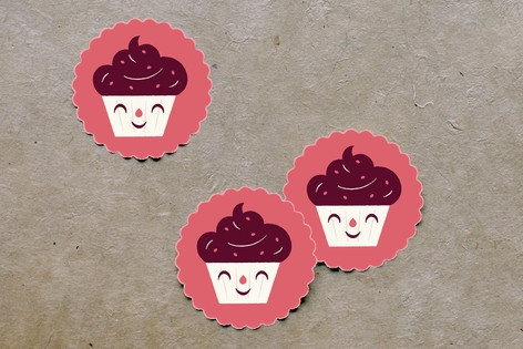 Sweet Cupcakes Scalloped Stickers by Bob Daly
