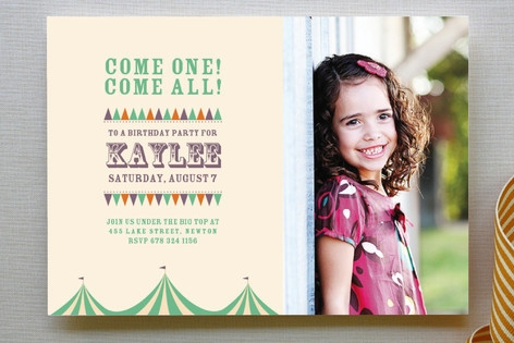 Under the Big Top Children's Birthday Party Invitations