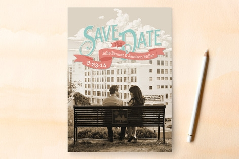 Up in the Clouds Save the Date Cards by GeekInk De...
