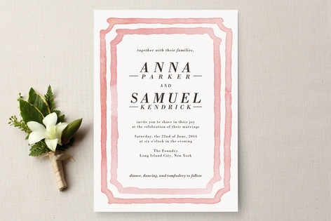 Watercolor Frame Wedding Invitations by Laura Cond...