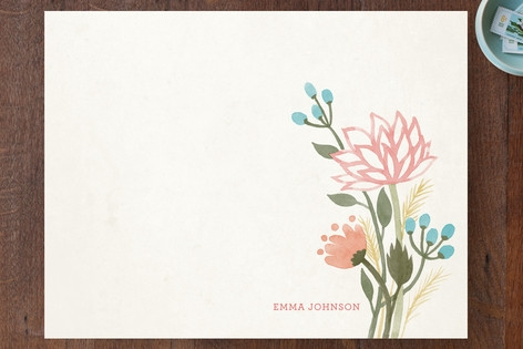 Watercolor Lotus Personalized Stationery by Four W...