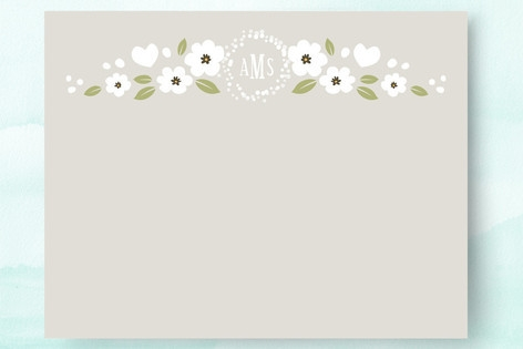 White Flowers Personalized Stationery by Four Wet ...