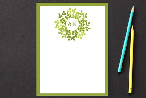 Wreath in Green Personalized Stationery by LollieJ