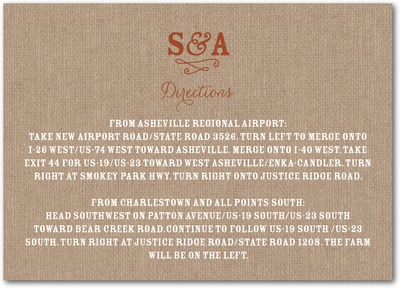 Burlap Monogram Signature White Enclosure Cards Caramel