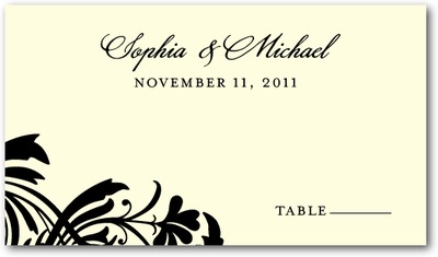 Vintage Pattern Letterpress Place Cards Black