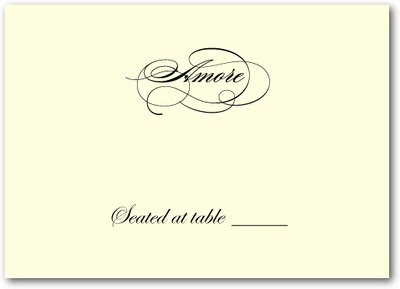 Sentimental Script Thermography Place Cards Black
