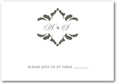 Fanciful Monogram Thermography Place Cards TH Charcoal