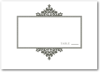 Diagonal Damask Thermography Place Cards TH Charcoal