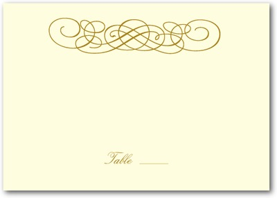 Dreamy Scrolls Thermography Place Cards TH Gold