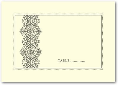 Royal Monogram Thermography Place Cards TH Charcoal