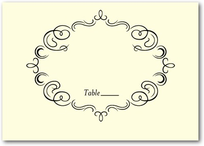 Royal Filigree Thermography Place Cards Black