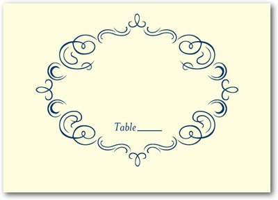 Royal Filigree Thermography Place Cards TH Navy