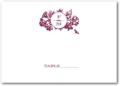 Framed Floral Thermography Place Cards TH Burgundy