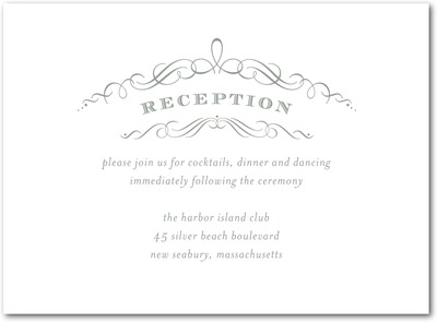 Vintage Nuptials Letterpress Wedding Reception Cards LP Charcoal