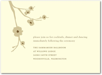 Modern Blossoms Letterpress Wedding Reception Cards Antique Gold