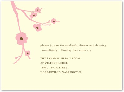 Modern Blossoms Letterpress Wedding Reception Cards Petal Pink